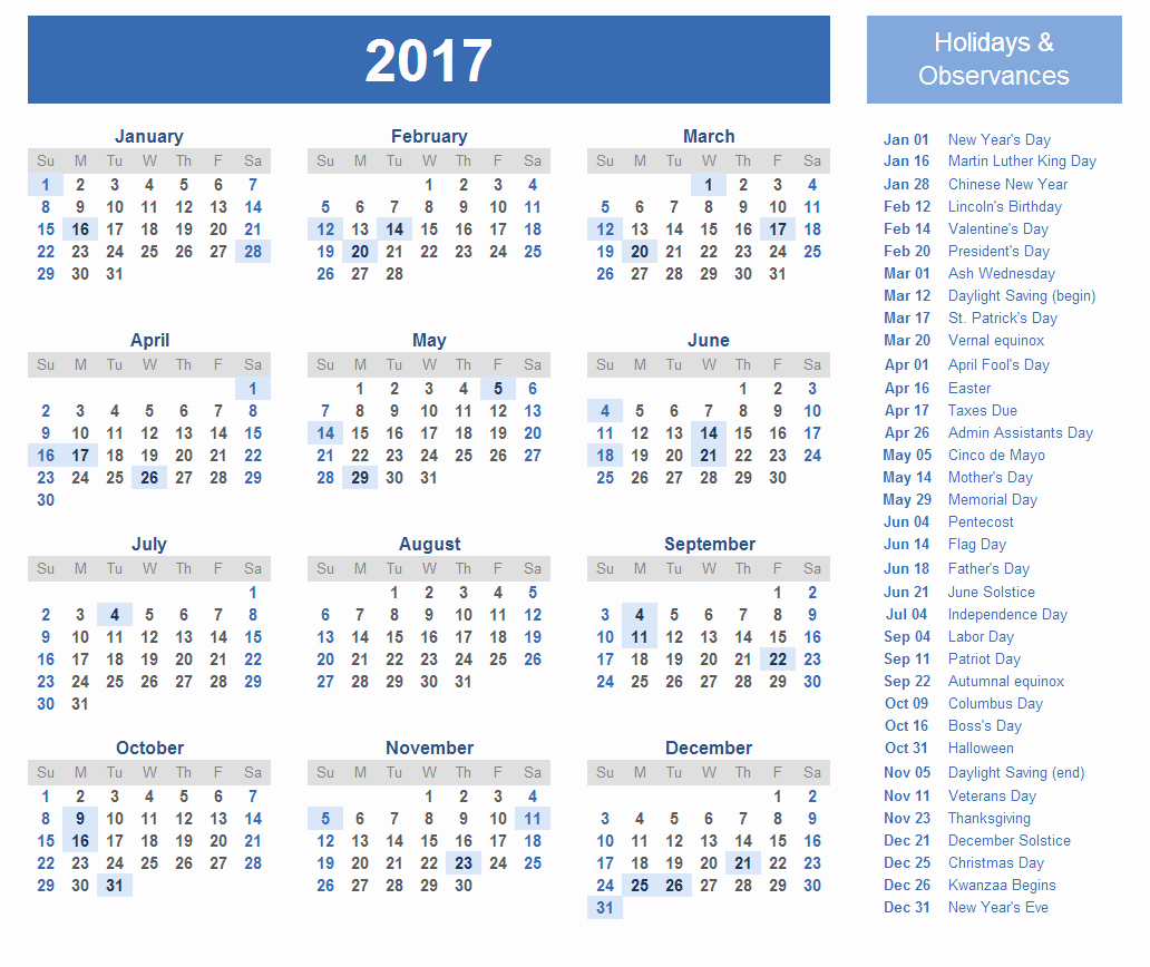 Free Yearly Calendar 2017 Luxury 2017 Calendar