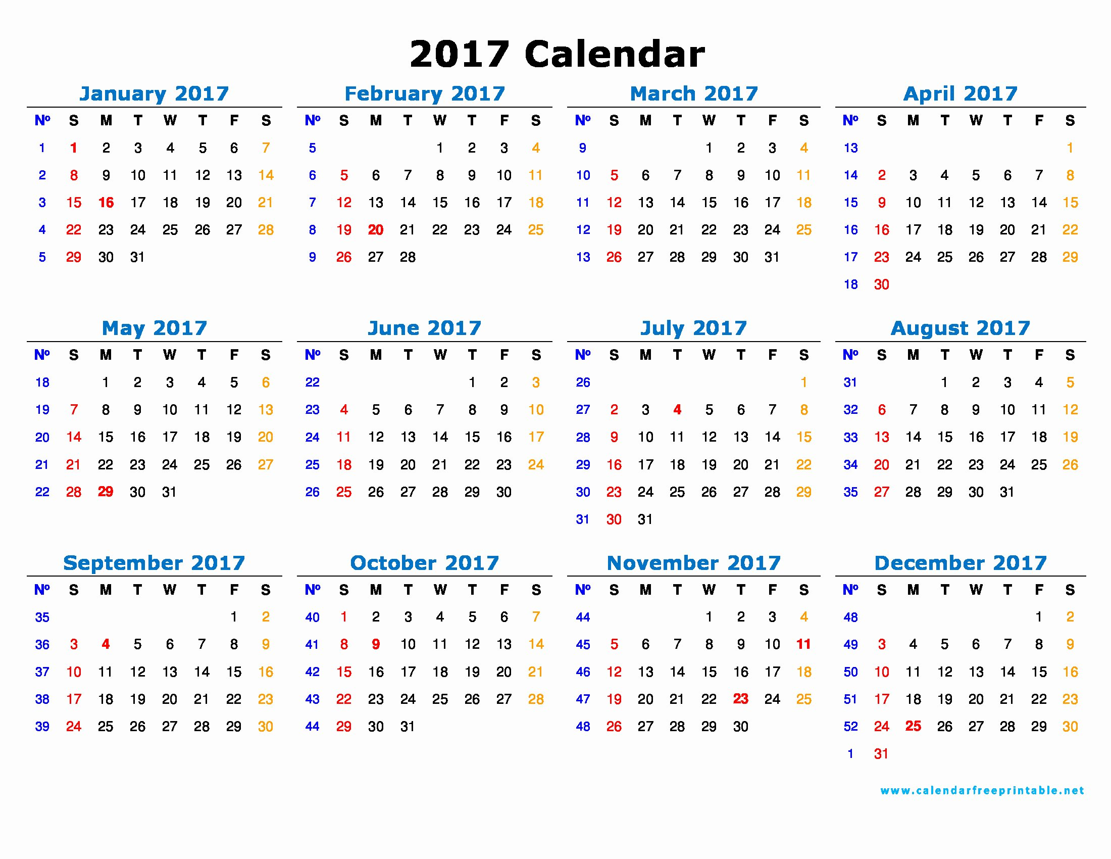 Free Yearly Calendar 2017 Unique Calendar Free Printable