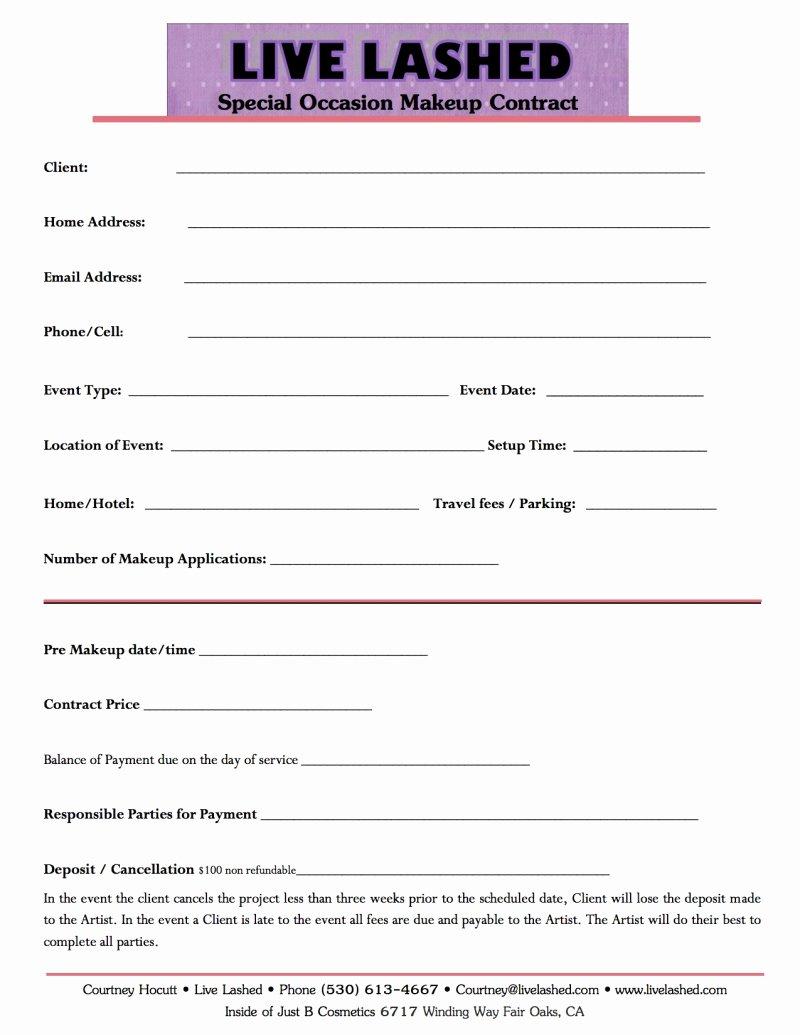 Freelance Makeup Artist Contract Template Inspirational Makeup Artist Application form