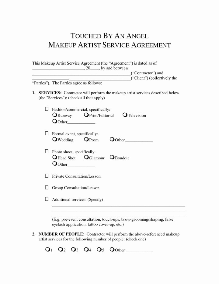 Freelance Makeup Artist Contract Template Luxury Makeup Bridal Contract