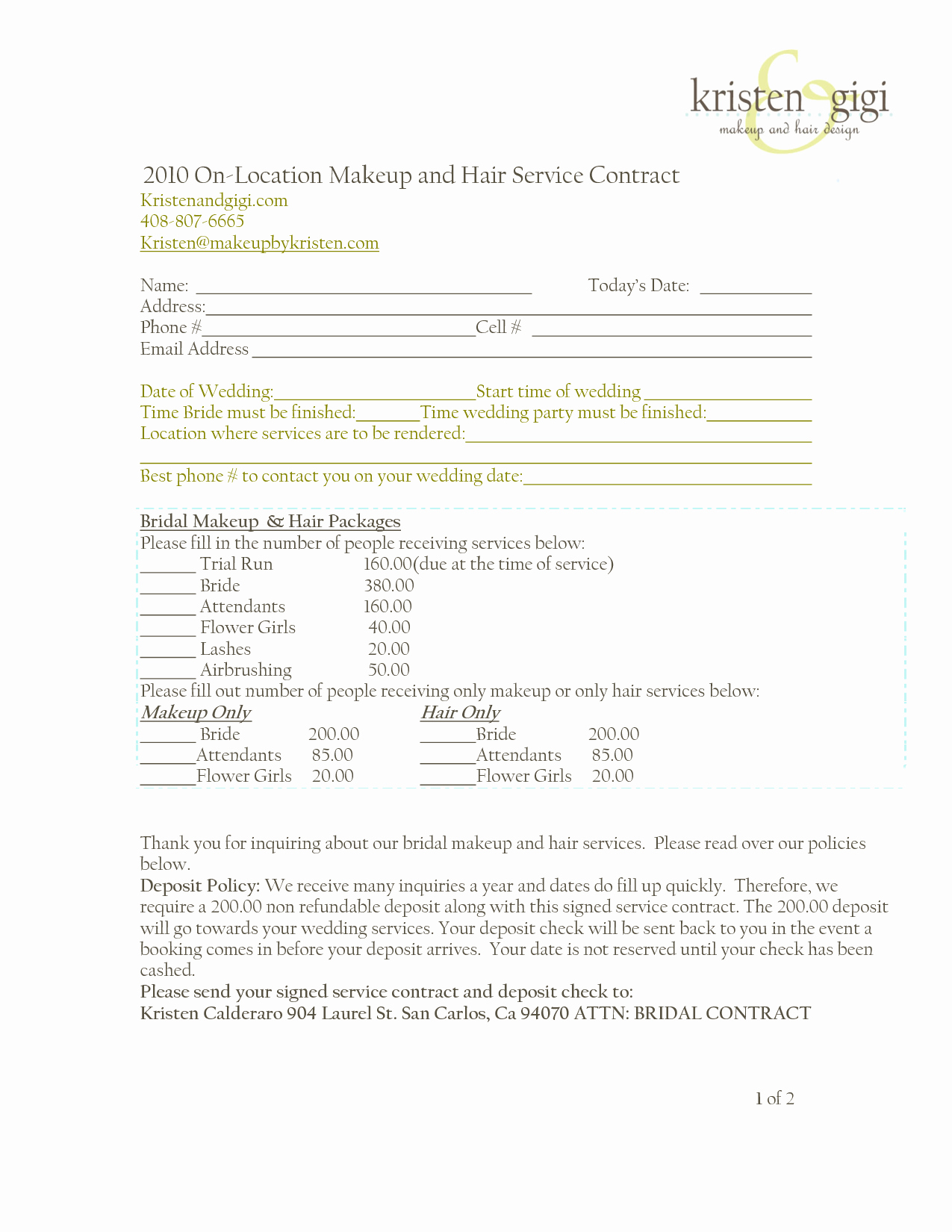 Freelance Makeup Artist Contract Template Unique Bridalhaircotract