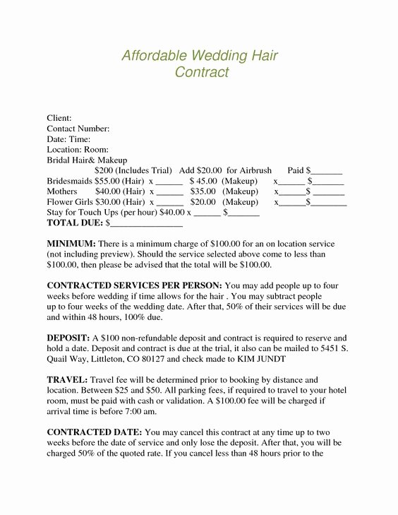 Freelance Makeup Artist Contract Templates Lovely Bridalhaircotract
