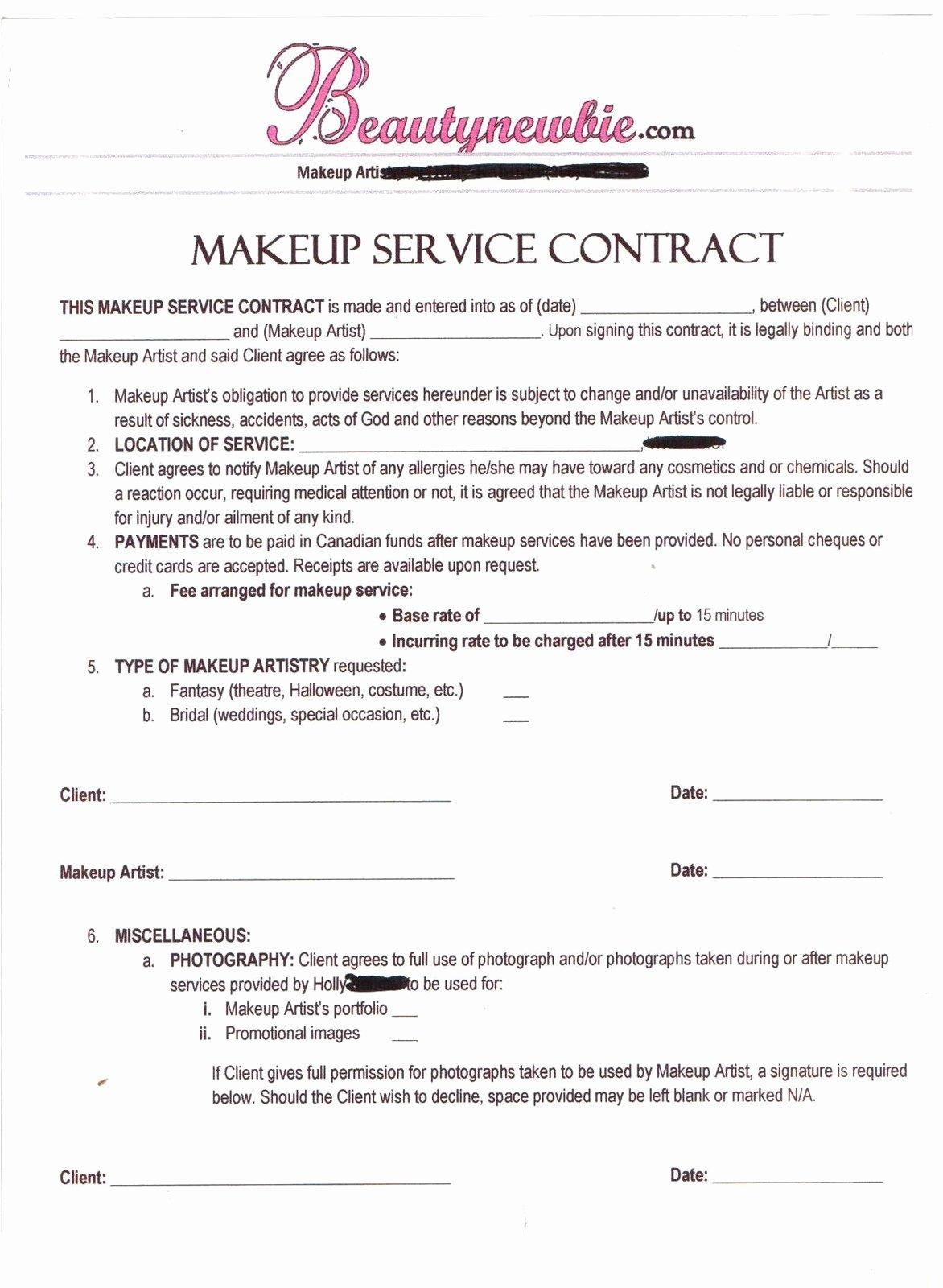 Freelance Makeup Artist Contract Templates Unique Freelance Makeup Artist Contract Template