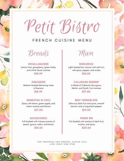 French Menu Design Awesome French Menu Templates Canva