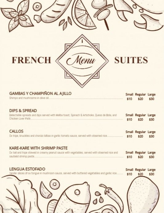 French Menu Design Best Of Modern French Bistro Menu Template