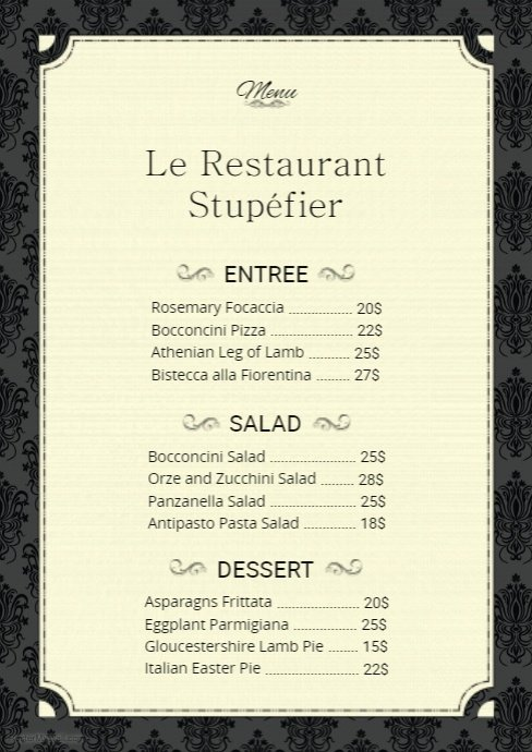 French Menu Design Elegant French Menu Card Template