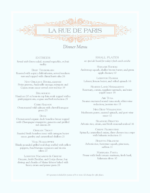 French Menu Design New A French Menu