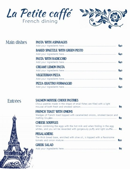 French Menu Design New French Cafe Menu Template with Illustrations