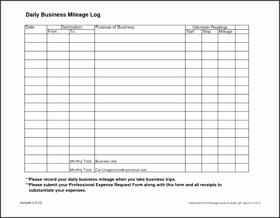 Fuel Log Book Template Excel Fresh 6 Vehicle Mileage Log Template In Ms Excel