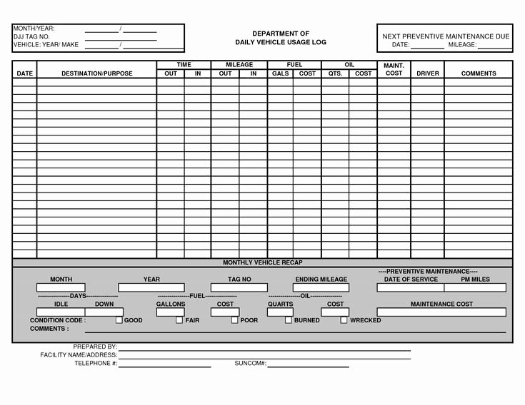Fuel Log Book Template Excel New Vehicle Maintenance Log Template Excel Ewolf