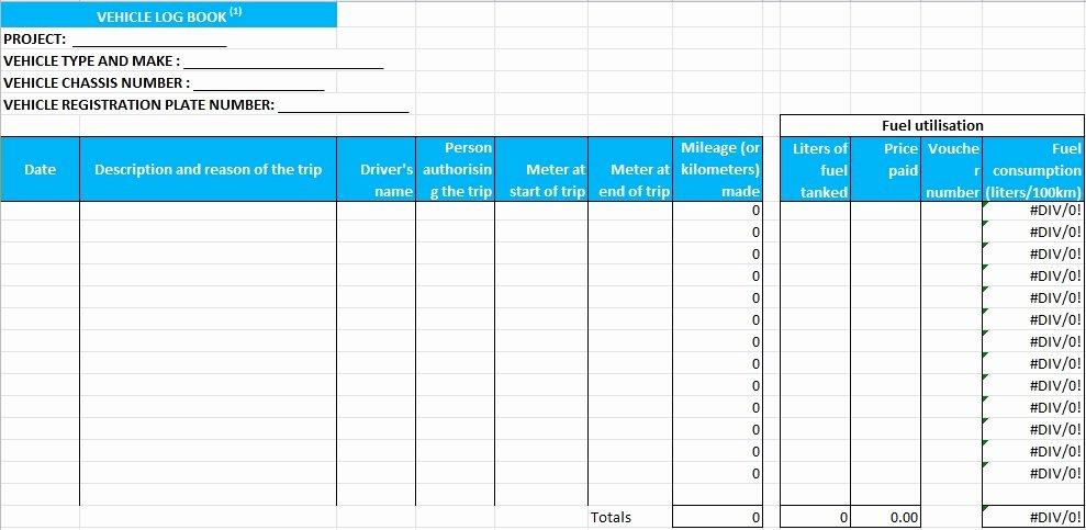 Fuel Log Book Template Excel Unique Truck Driver Log Book Template Excel Tmp