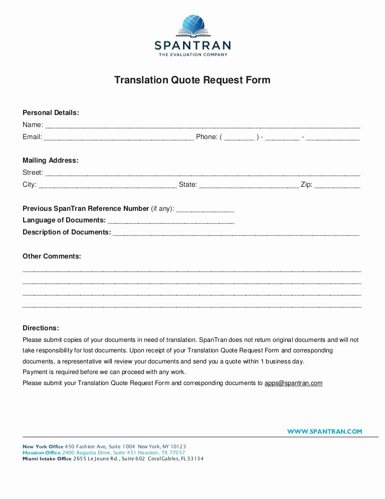 Fund Request form Template New Translation Quote Request form