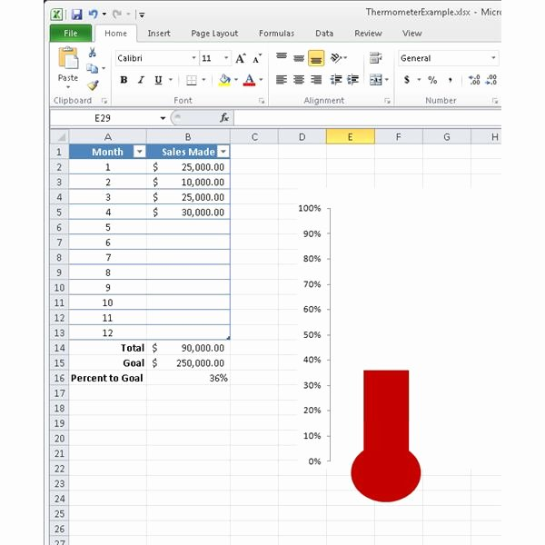 Fundraising Goal Chart Template Inspirational Goal thermometer Template Excel