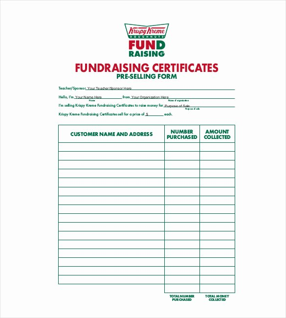 Fundraising order form Template Luxury 20 order Template Word Excel Pdf
