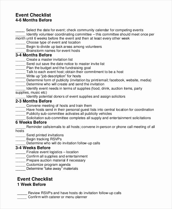 Fundraising Plan Template Free Elegant event Planning Checklist 11 Free Word Pdf Documents
