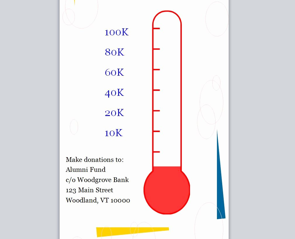 Fundraising thermometer Excel New Fundraising Goal thermometer