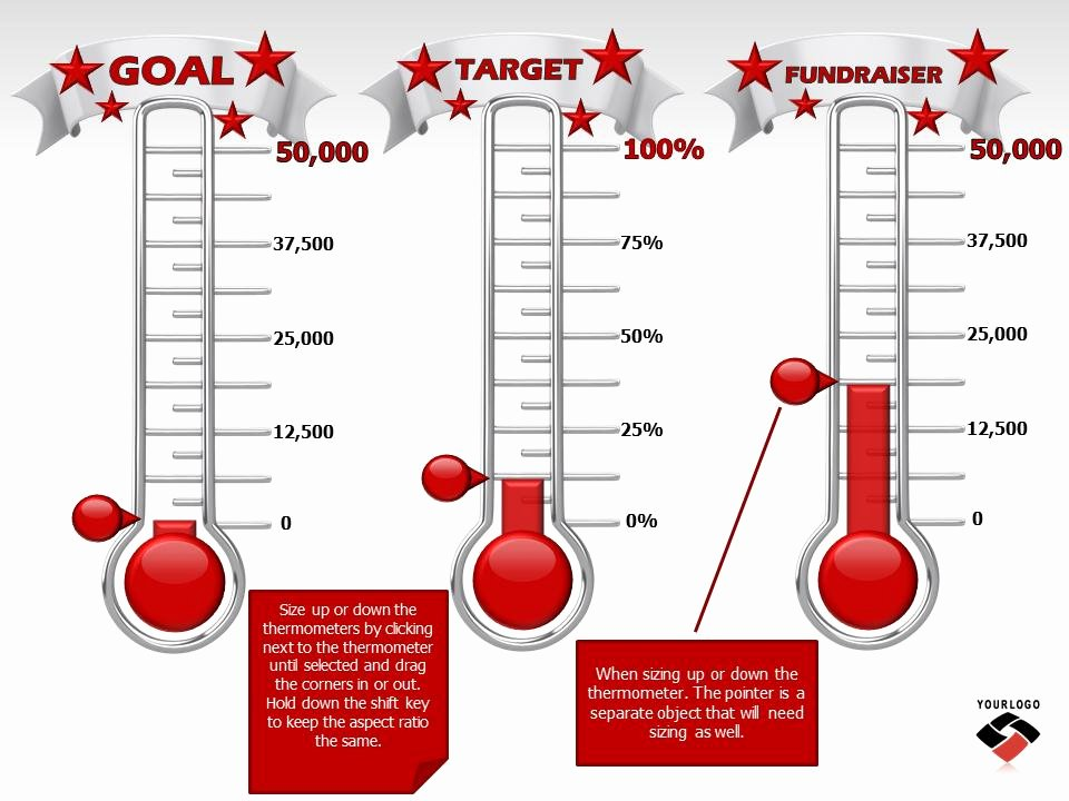 Fundraising thermometer Excel New Reaching Your Goal A Powerpoint Template From
