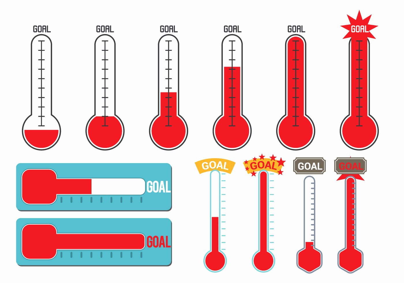 Fundraising thermometer Template Editable New Goal thermometer Vector Download Free Vector Art Stock