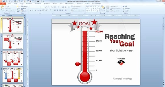 Fundraising thermometer Template Excel Beautiful Animated Goal Chart Template for Powerpoint