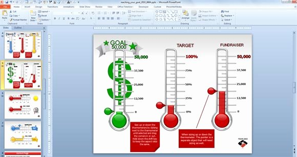Fundraising thermometer Template Excel Fresh Animated Goal Chart Template for Powerpoint