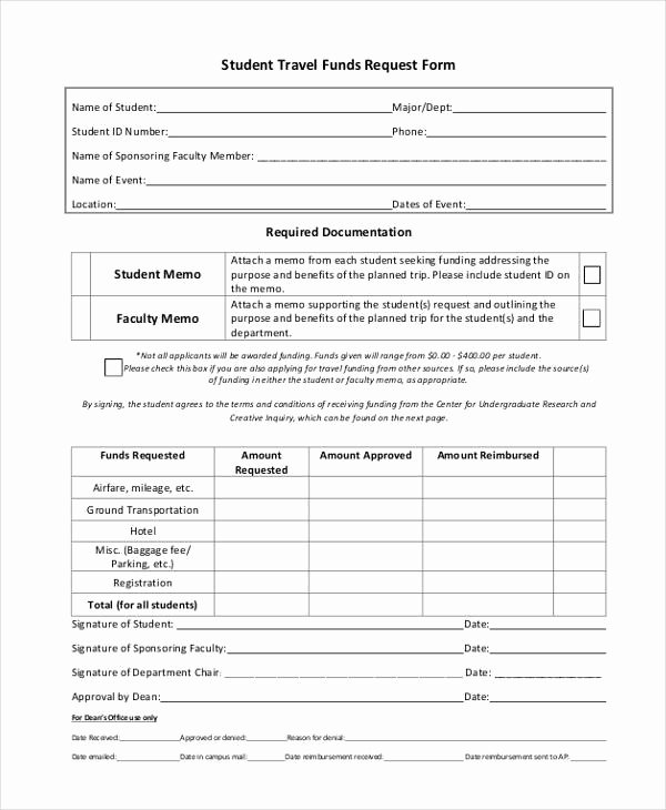 Funds Request form Template New Travel Request form Example