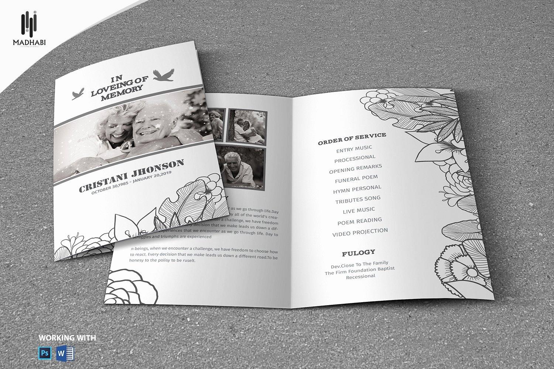 Funeral Memorial Card Template Elegant Black & White Style Funeral Template Brochure Templates