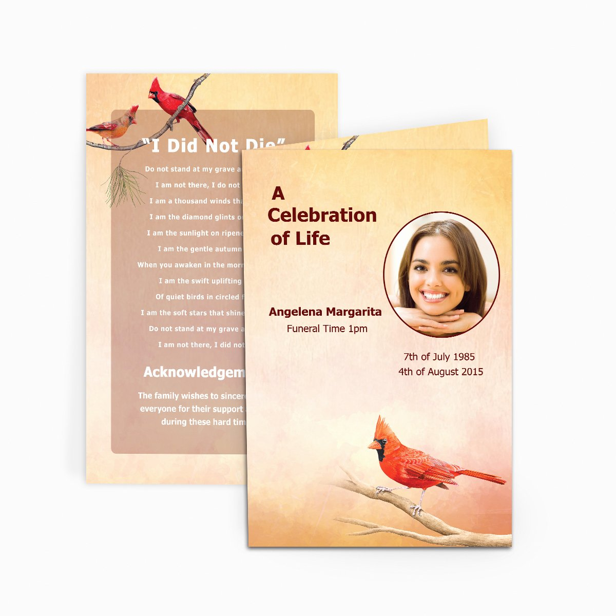 Funeral Memorial Card Template Fresh Cardinal Funeral Card Funeral Pamphlets