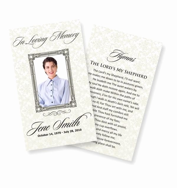 Funeral Memorial Card Template Lovely Funeral Prayer Cards Examples