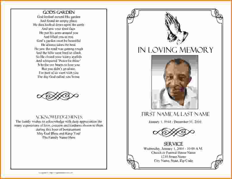 Funeral Memorial Card Template New Memorial Service Program Template Microsoft Word