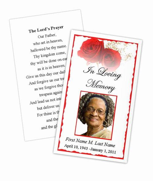 Funeral Memorial Card Template New Red Rose Memorial Prayer Card Template Elegant Memorials