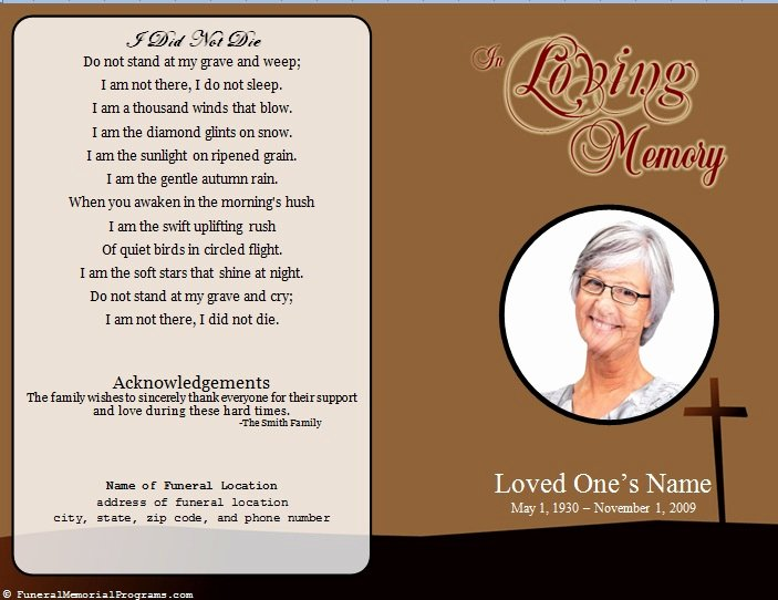 Funeral Memorial Card Template New Single Fold Cross Memorial Program Funeral Pamphlets