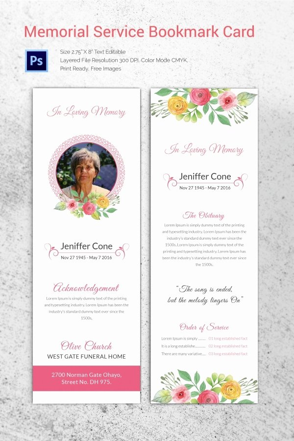 Funeral Memorial Card Template Unique 20 Funeral Program Templates – Free Word Excel Pdf Psd