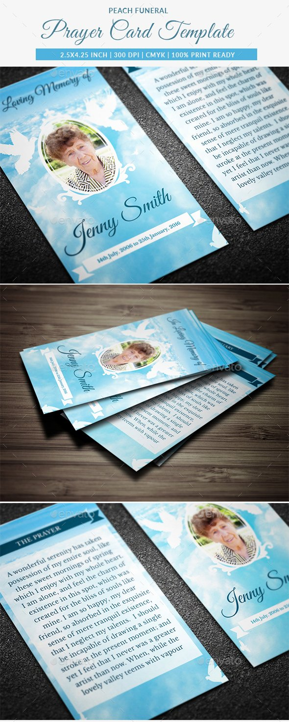 Funeral Prayer Cards Templates Fresh Peace Funeral Prayer Card Template by Creativesource