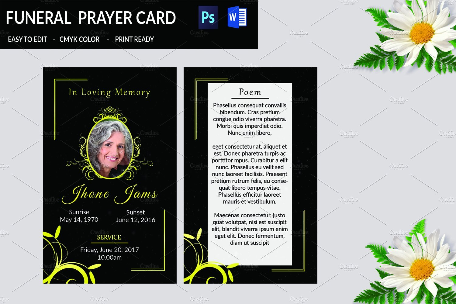 Funeral Prayer Cards Templates New Funeral Prayer Card Template V665 Card Templates