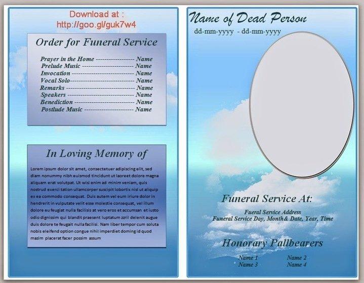 Funeral Program Templates Word Free Elegant Blue themed Funeral Program Template In Microso