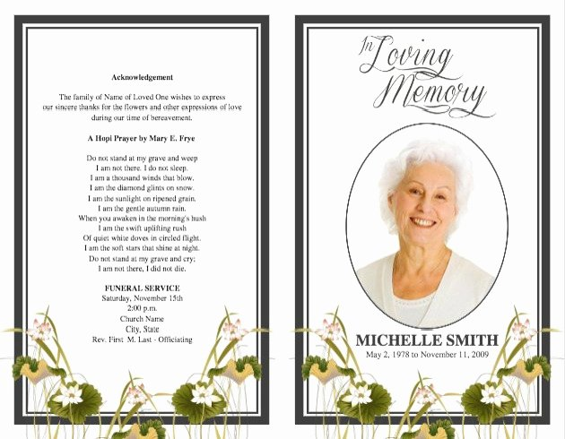 Funeral Program Templates Word Free Luxury Memorial Service Program Template Microsoft Word