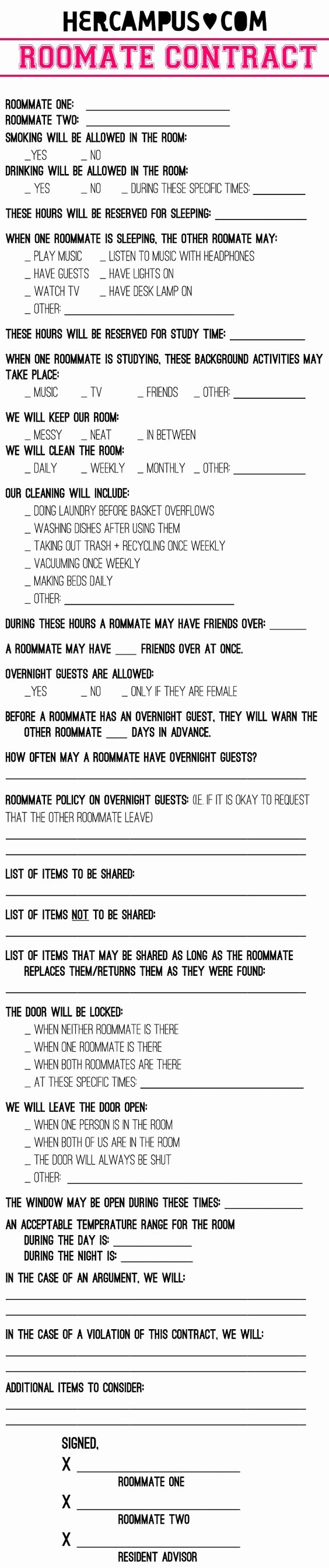 Funny Roommate Agreement Awesome Funny Contracts Reverse Search