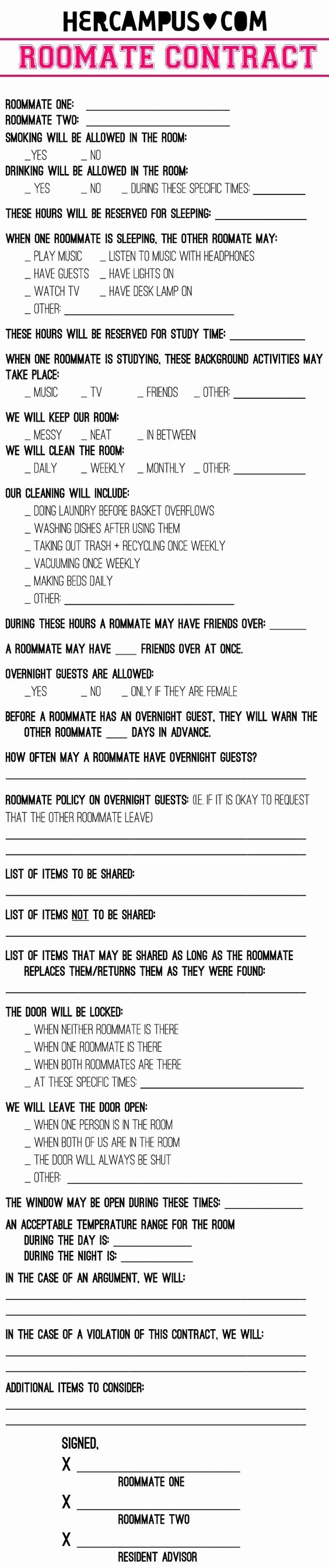 Funny Roommate Agreement Elegant Roommate Contract Roommate and Smoke Smell On Pinterest