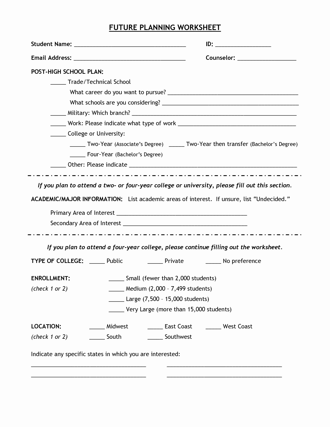 Future Career Plan Example Awesome 7 Best Of Worksheets Middle School Career High