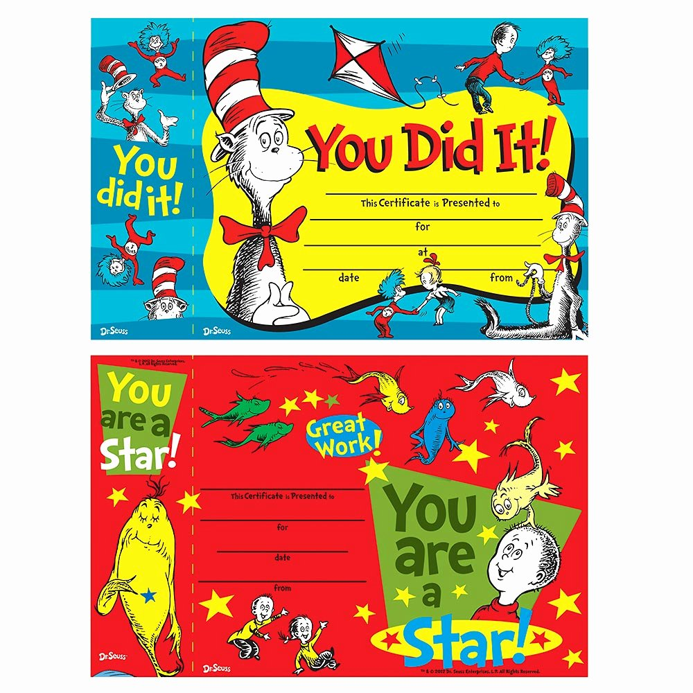 G.go/itcertificate Awesome 6 Ct Dr Seuss Reward Certificate with Bonus Bookmark