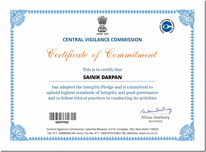 G.go/itcertificate Awesome Sainik Darpan English Central Vigilance Mission