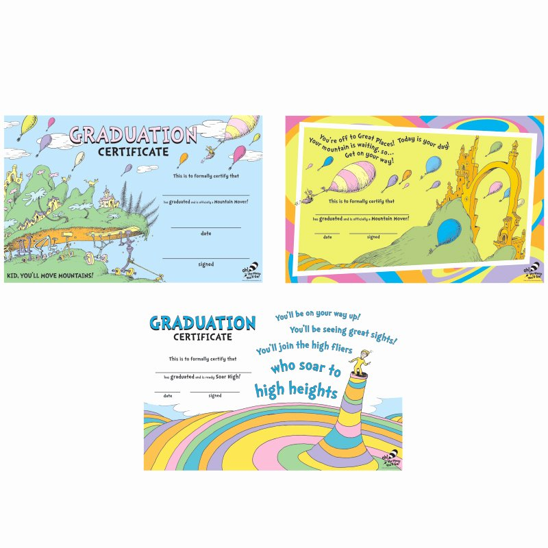 G.go/itcertificate Fresh Dr Seuss™ Oh the Places You Ll Go Graduation Certificates