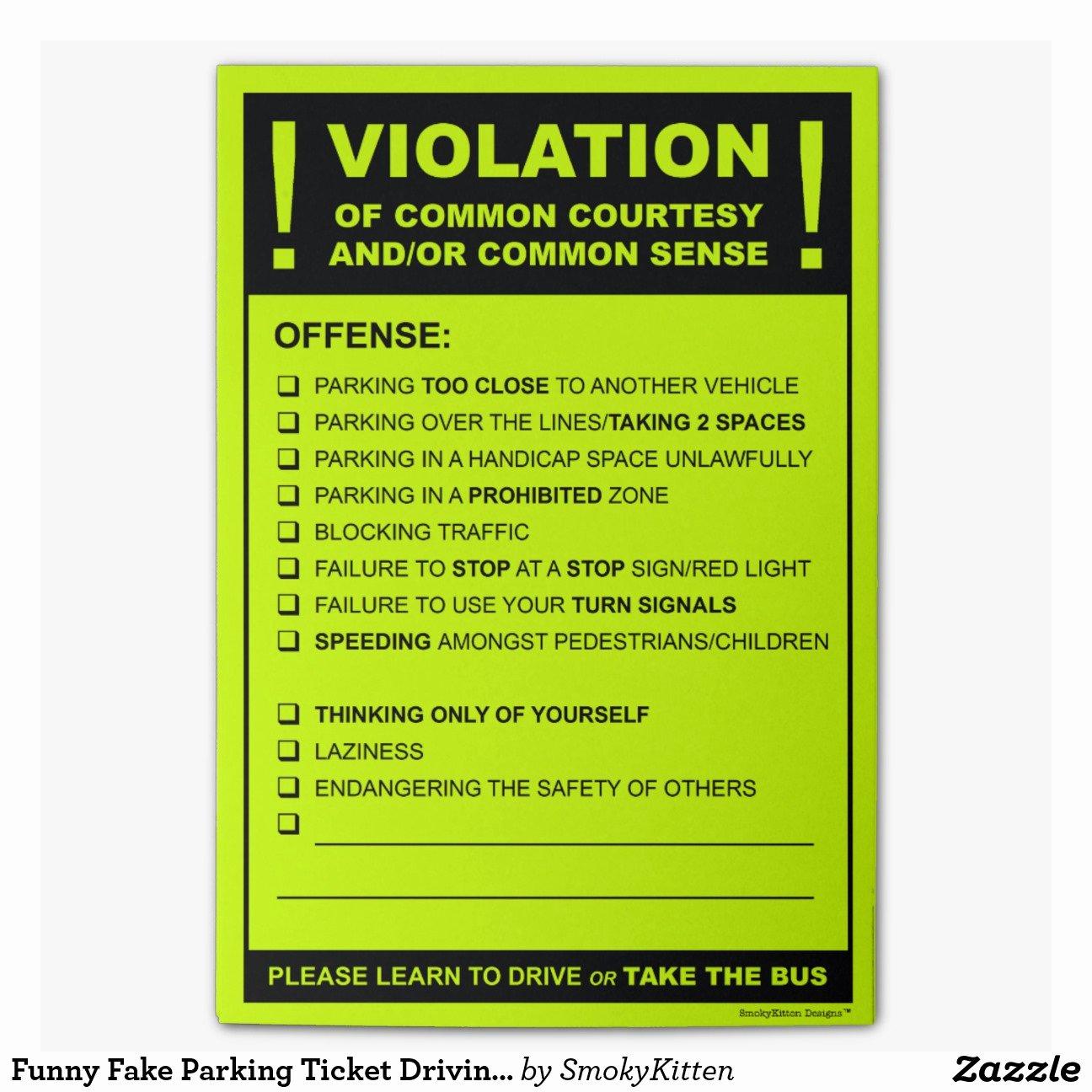 Gag order Sample Elegant Fake Parking Ticket Driving Citation Post It Notes