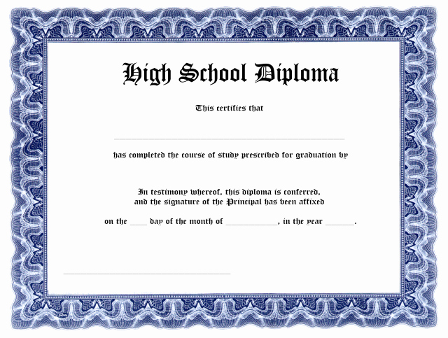 Ged Certificate Template Download Beautiful Blank High School Diploma Template Free Printables