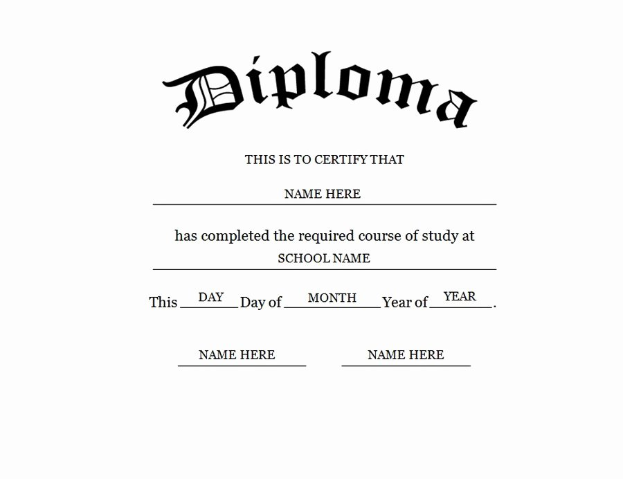 Ged Certificate Template Download Best Of Blank High School Diploma Template Free Printables
