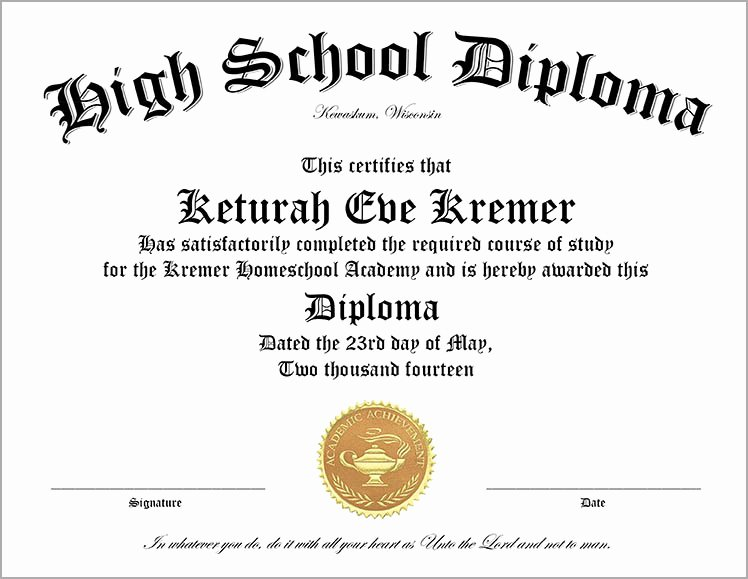 Ged Certificate Template Download Inspirational 30 Free High School Diploma Template Printable
