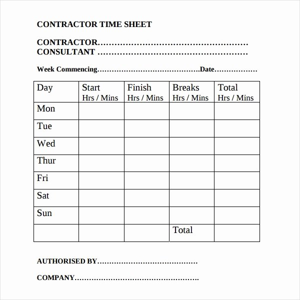 General Contractor Business Plan Template Awesome 17 Contractor Timesheet Templates – Docs Word Pages