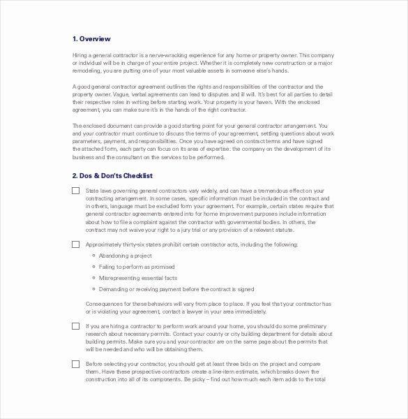 General Contractor Business Plan Template Awesome Contractor Agreement Template – 23 Free Word Pdf Apple