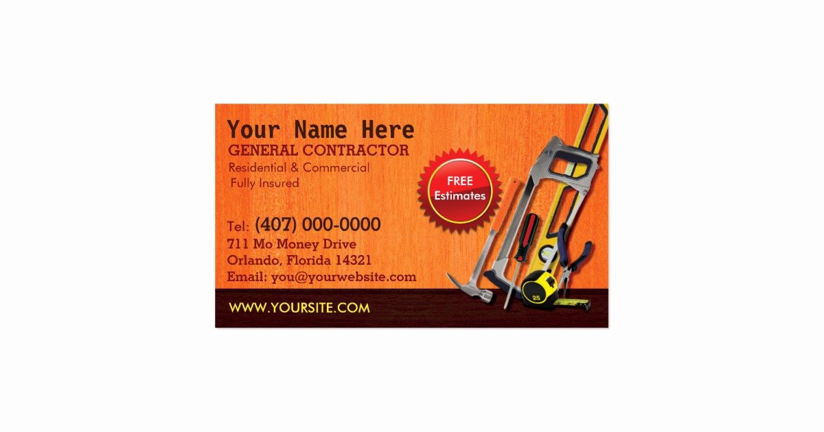 General Contractor Business Plan Template Fresh General Contractor Handyman Business Card Template