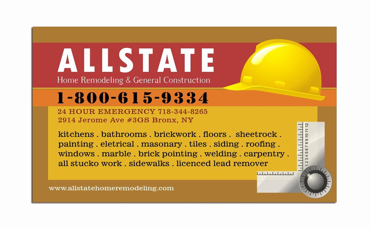 General Contractor Business Plan Template Inspirational General Construction Business Card
